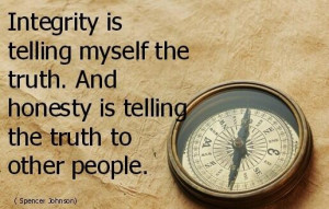 Integrity is telling myself the truth. And honesty is telling the ...