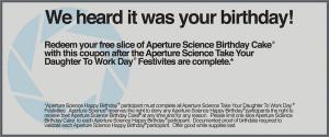 Aperture Science Birthday Cake