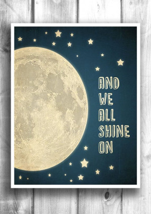 Moon and Stars Typographic print, Inspirational poster, Quote print ...