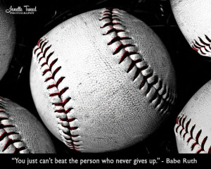 Photograph Never Give Up Decor Baseball Typography by JanelleTweed