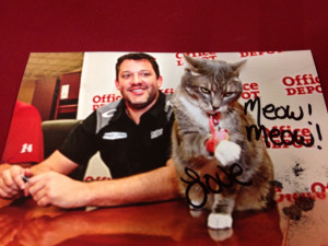 below the autographed picture tony stewart the driver received from ...