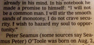 Peter O'Toole quote in today's Times.