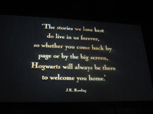 ... Making of Harry Potter: J.K Rowling's quote at the end of the tour