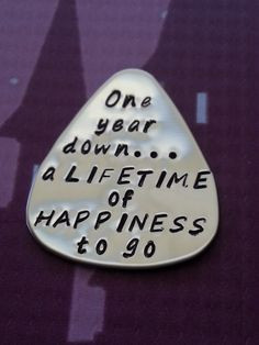 One year anniversary Gift -Personalized guitar pick via Etsy