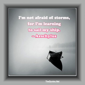 am not afraid of storms, for I am learning to sail my ship.