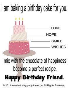 am baking a birthday cake for you. Love, hope, smile, and wishes mix ...