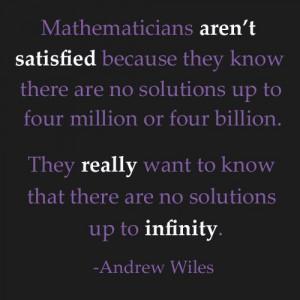 infinity quote andrew wiles