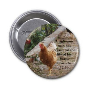 Bible quote about Animal Cruelty Proverbs 12:10 Button