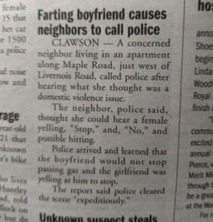 Farting boyfriend causes neighbors to call police…