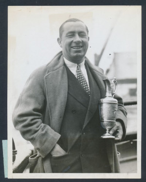 1928 Walter Hagan British Open Champion quot Proudly Holds the Trophy ...