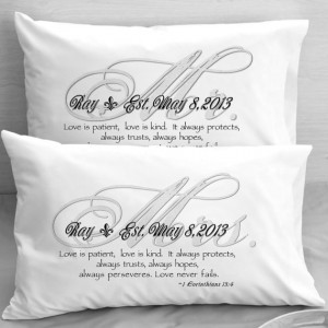 Mr and Mrs Bible Quote Pillow Cases 1 Corinthians 13 Love Wedding ...