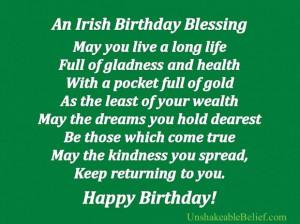 An irish birthday blessing birthday quote
