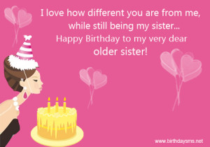 Funny Happy Birthday to Older Sister