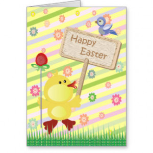 Cute Easter Chick with Happy Easter Sign Card