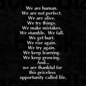 We are human. We are not perfect.
