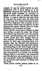 ... of: So this then is the essay on Self-reliance by Ralph Waldo Emerson