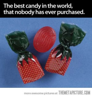 Strawberry candy with funny sayings