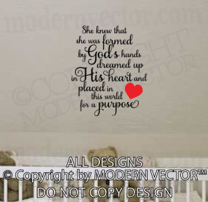 Details about FORMED BY GOD'S HANDS Quote Vinyl Wall Decal Lettering ...