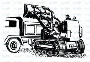 Excavator with truck