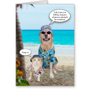 Funny Dog/Lab Hawaiian Birthday Card