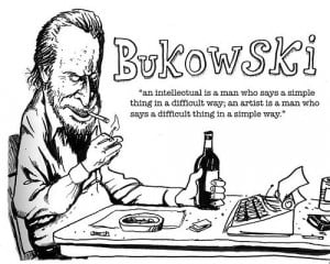 Bukowski drawing with quote