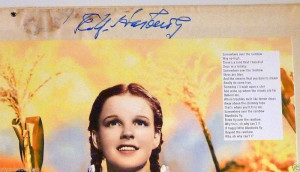about The Wizard Of Oz Signed Record Sleeve Very Rare E Y Harburg