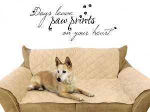 Dogs leave paw prints on your heart quote Vinyl Wall Art Sticker Decal ...