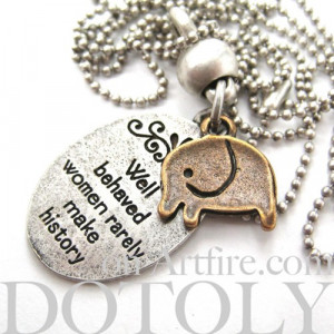 Elephant Cute Animal Round Pendant Necklace in Silver with Quote
