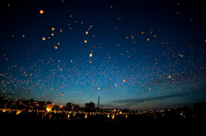 beautiful, lanterns, night, sky