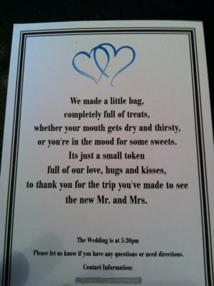 Wedding Hotel Guest Gift Bag Poem