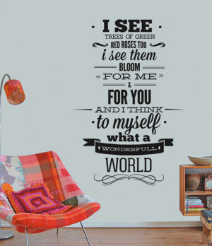Louis Armstrong Wall Quote Sticker - Wonderfull World Wall Decal ...