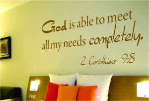 Corinthians 9:8 God is able...Bible Verse Wall Decal Quotes