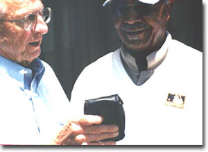 DannyO with Larry Doby in 2000 at Salisbury, N.C. Doby broke the color ...