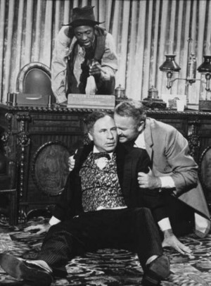 ... Lapeteme and Harvey Korman as Hedley Lamarr in Blazing Saddles