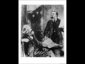 Karl Marx German Political Theorist Working on Das Kapital with Engels