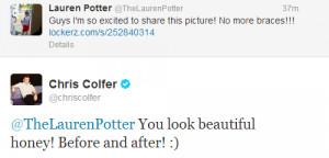 Twitter Chris Colfer Lauren Potter Sweet Oop Forgot The Picture