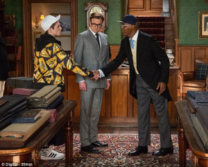 ... , Colin Firth and Samuel L. Jackson in Kingsman: The Secret Service