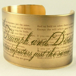 Literary Quote Cuff - Rudyard Kipling 'IF-' Brass Bracelet - If You ...