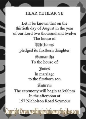 Medieval Wedding Invitation Wording picture
