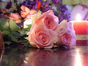 romantic red roses candle flowers wallpaper roses flowers wallpaper ...