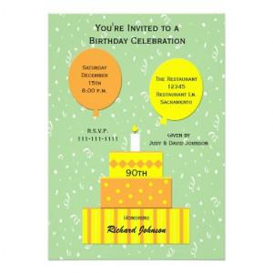 90th Birthday Party Invitation -- Fun 90th Cake Personalized ...