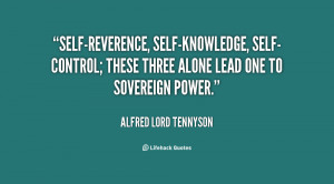 Self reverence, self-knowledge, self control