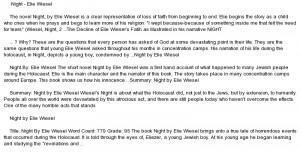 essay on Night by elie wiesel