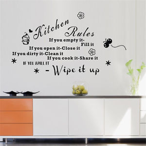 ... Kitchen-Rules-Wall-Stickers-Art-Decals-Black-Quote-Mural-Kitchen-Decor