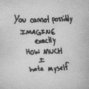 """... Cannot Possibly Imagine Exactly How Much I Hate Myself """" ~ Sad Quote"""