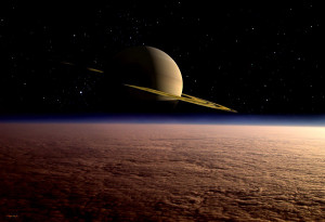 Saturn above Titan