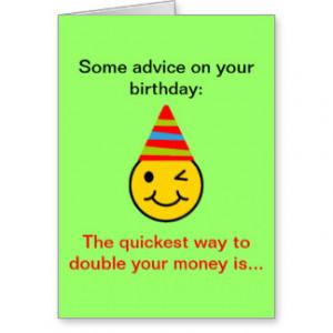 Funny Birthday Money Happy Face Cards