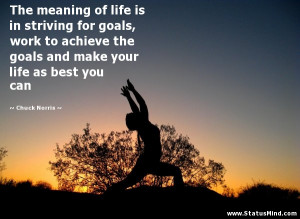 The meaning of life is in striving for goals, work to achieve the ...