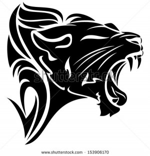 roaring lion head black and white vector tribal design