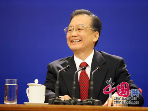 Chinese Premier Wen Jiabao meets the press after the closing meeting ...
